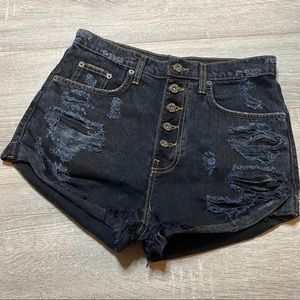 CARMAR high waisted distressed button fly shorts